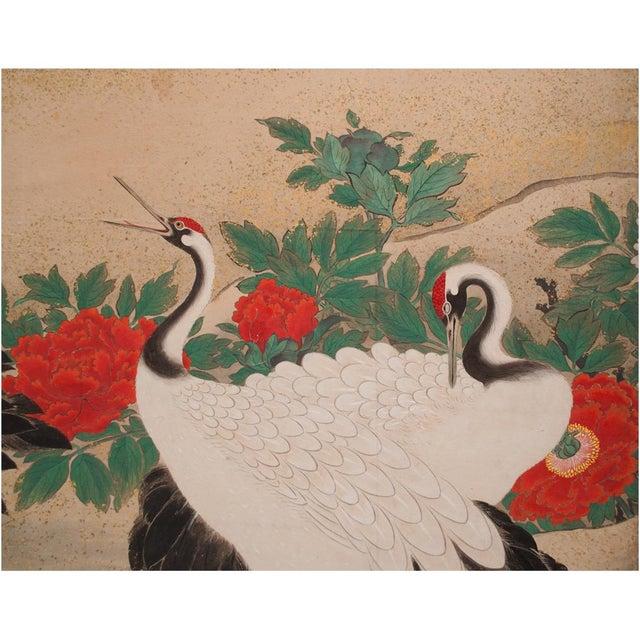 Gold Edo Era Monumental Japanese Six-Panel Byobu Screen For Sale - Image 7 of 13