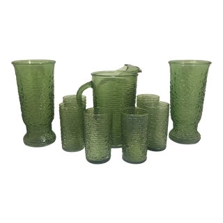 Vintage Anchor Hocking Green Soreno Glass Pitcher, Ice Tea Glasses, and Matching Table Vases - Set of 9 For Sale