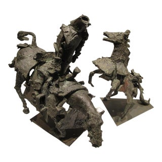 1958 Brutalist Bronze Horses by Fred White Farr - a Pair For Sale