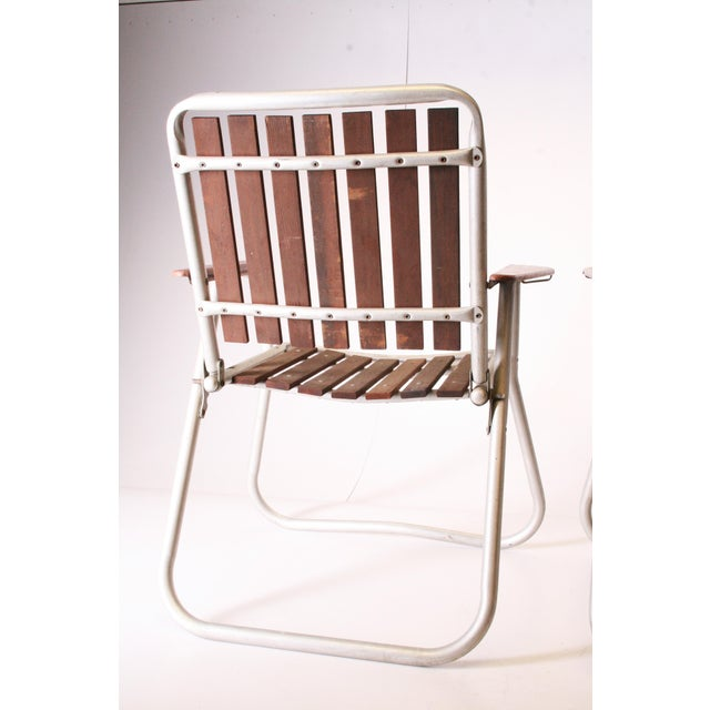 Mid Century Redwood Aluminum Folding Patio Chairs - A Pair For Sale - Image 9 of 11
