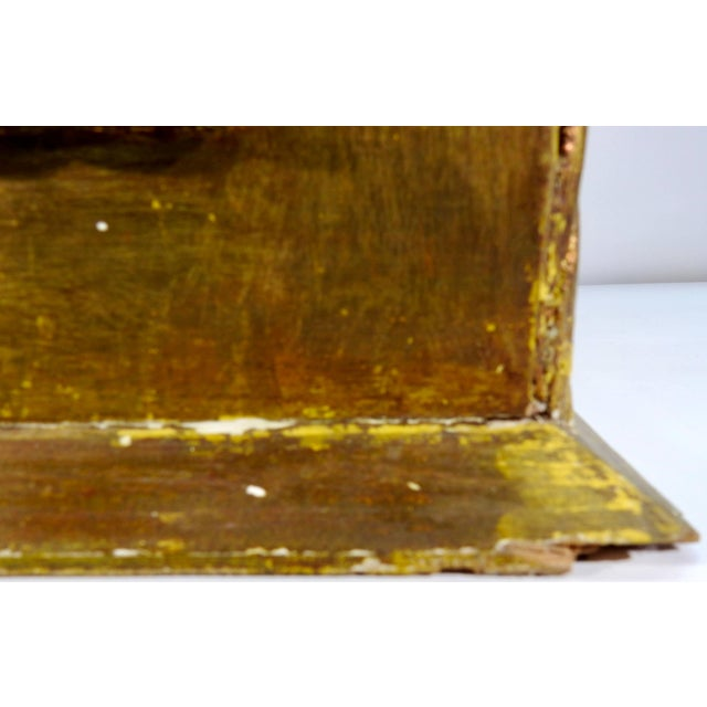 Early 20th Century Gold Gilt Chest With Reverse Painted Glass on Stand For Sale - Image 10 of 11