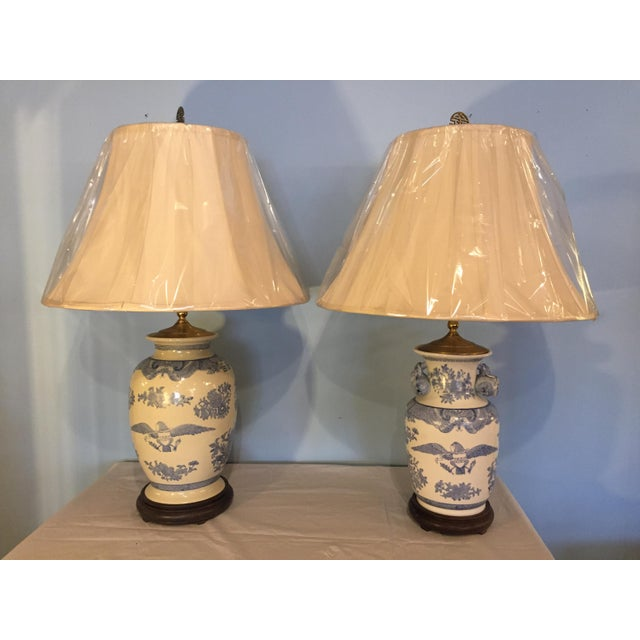 Companionable Chinese Export Style Porcelain Lamps - a Pair - Image 9 of 9