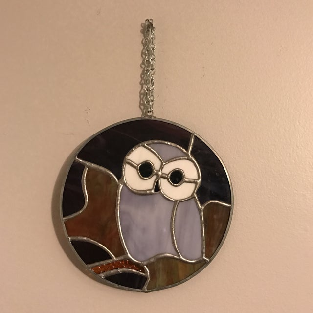 Glass Hanging Stained Glass Owl For Sale - Image 7 of 8