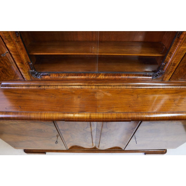 Art Deco Walnut Burl Wood Sideboard or Bar Cabinet For Sale - Image 9 of 13