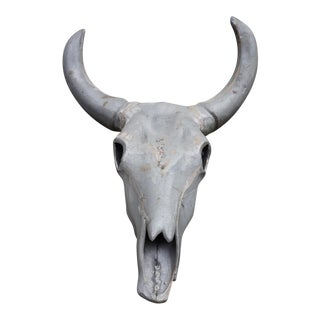 20th Century Folk Art Metal Cow Skull For Sale
