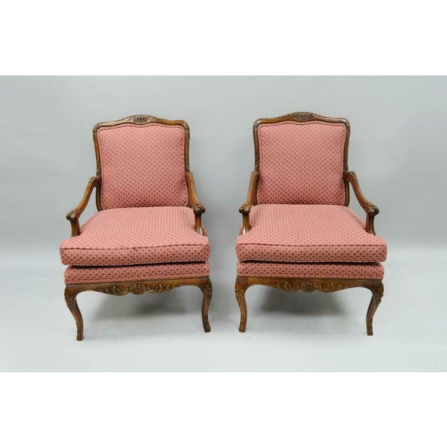 Late 20th Century Country French Louis XV Shell Carved Century Bergere Lounge Arm Chairs- A Pair For Sale - Image 10 of 10