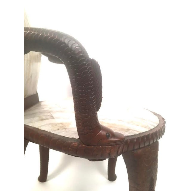 19th Century Fish Carved Arm Chair with Eel Skin Upholstery - Image 5 of 11