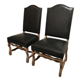 Black Leather Louis Style Chairs - A Pair