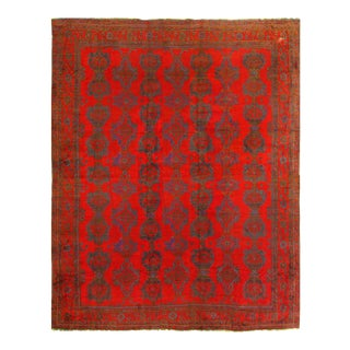 Red Fine Hand Knotted Antique Oushak 16'4'' X 18'6 For Sale