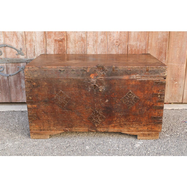 Brown 19th Century Wood Dowry Trunk For Sale - Image 8 of 9