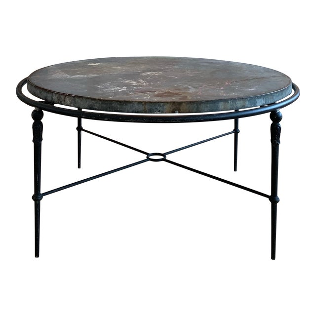 """Zinc & Wrought Iron Dining Table 60"""" For Sale"""