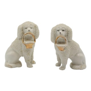 Antique Staffordshire Style Poodle Dogs With Baskets - a Pair For Sale