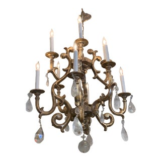 Giltwood Chandelier With Very Large Rock Crystals For Sale