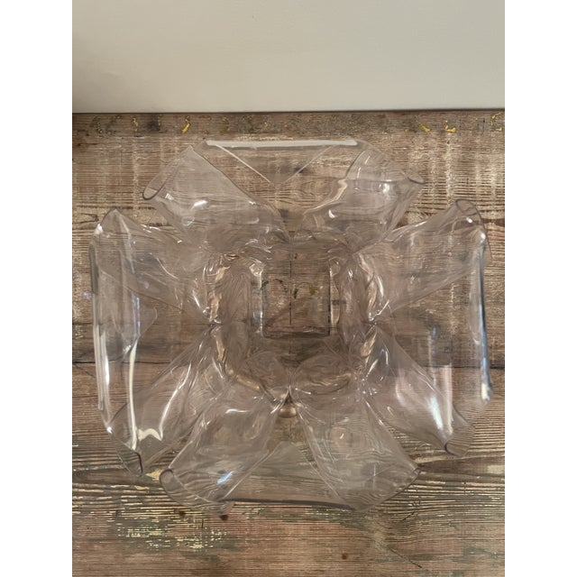 1970s 1970s Handkerchief Lucite Planter Vase With Gilt Bow For Sale - Image 5 of 7