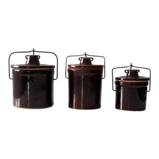 Vintage Stoneware Jars - Set of 3 For Sale