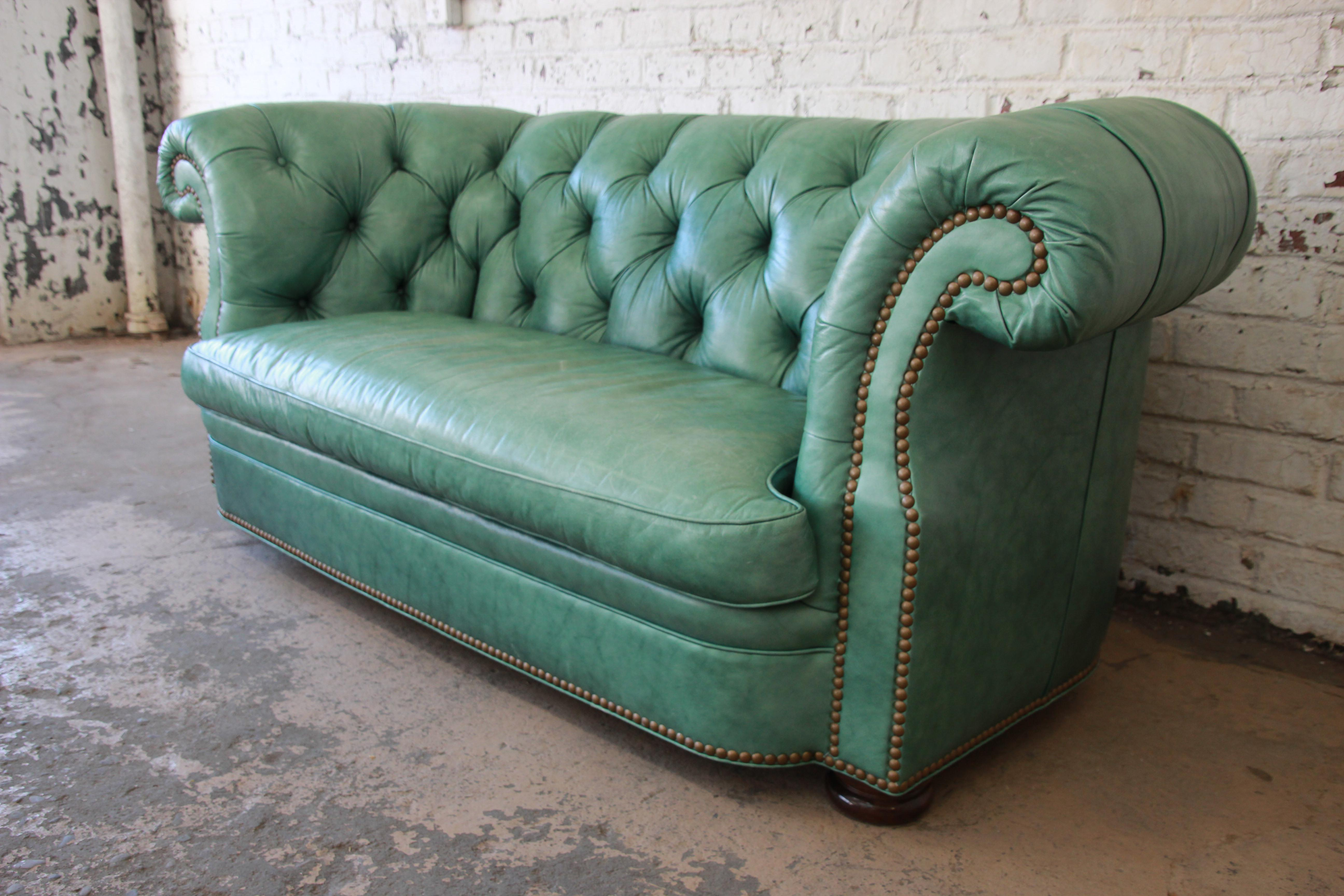 Mid 20th Century Vintage Teal Tufted Leather Chesterfield Sofa By Hancock U0026  Moore For Sale