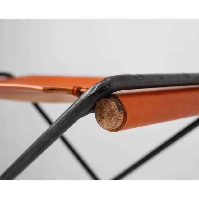 Brown Cleo Baldon Leather and Iron Folding Stool, California, 1960s For Sale - Image 8 of 10