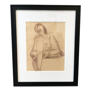 1940s Cubist Figurative Drawing For Sale