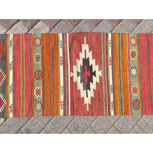 Boho Chic Vintage Turkish Kilim RugTurkish Kilim Runner Rug For Sale - Image 3 of 8