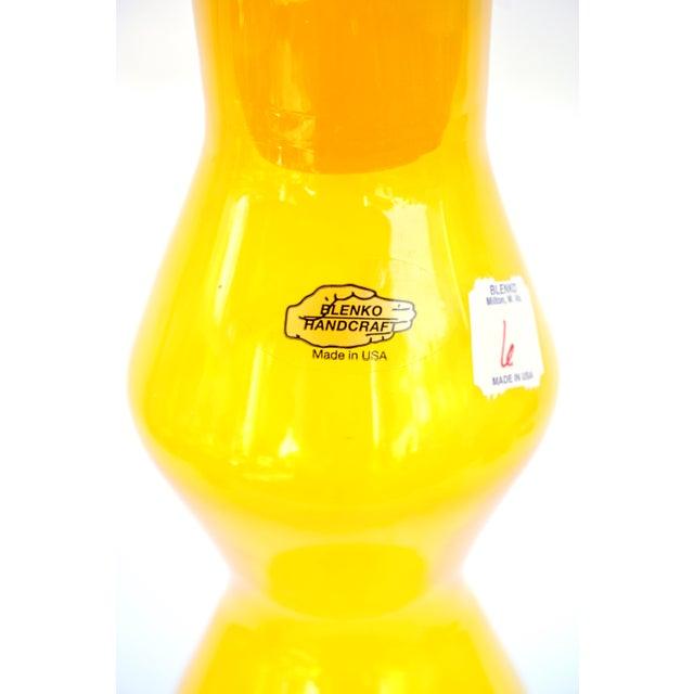 Art Glass Blenko|• Wayne Husted Jonquil Tangerine Blown Art Glass Spool Decanter | Mid-Century Modern Collectible Glass Bottle For Sale - Image 7 of 12