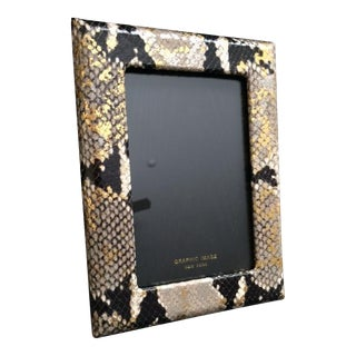 "Graphic Image Gilded Embossed Python Design Leather Frame for 5""x7"" Photoes"