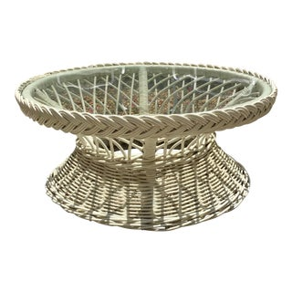 Round Rattan Coffee Table With Glass Inset Top For Sale