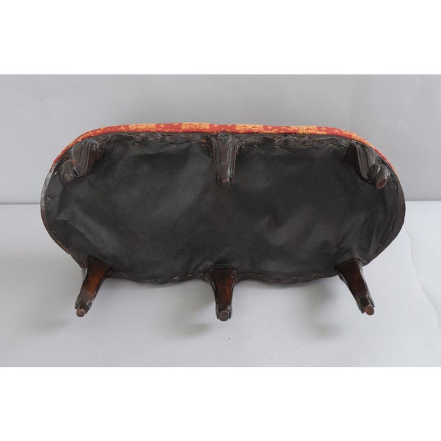 Antique Country French Louis XV Carved Wood Footstool For Sale - Image 10 of 11