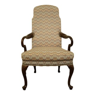 High End Traditional Upholstered Studded Accent Arm Chair For Sale