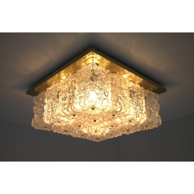 One of Four Square Wall Sconces or Flush Mount Lamps Glass and Brass by Limburg For Sale - Image 9 of 9
