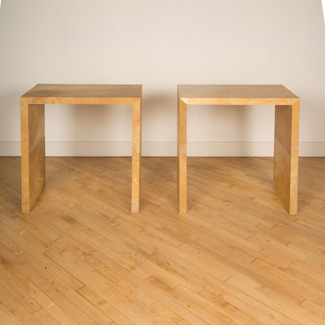 Jean-Michel Frank Style Mid-Century Modern Parchment Console Tables - a Pair For Sale In Philadelphia - Image 6 of 7
