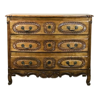 19th Century Country French Hand Carved Cherry Wood Commode For Sale
