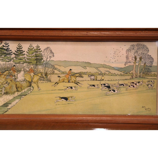 English Traditional Pair of 19th Century English Painted Hunt Scenes Watercolors in Walnut Frames For Sale - Image 3 of 10