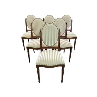 Striped Velvet Set of Six Antique Medallion Louis XVI Style Dining Chairs For Sale