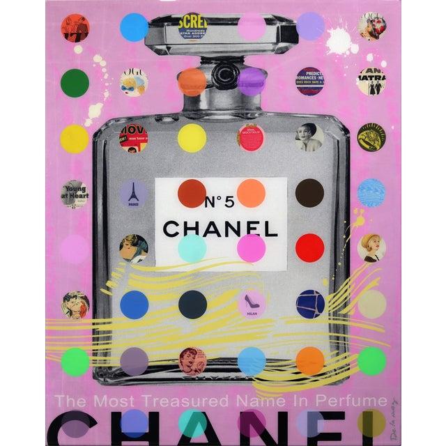 """Nelson De La Nuez """"Chanel #5 Pink With Grey Bottle (118/125)"""" Original Painting For Sale"""