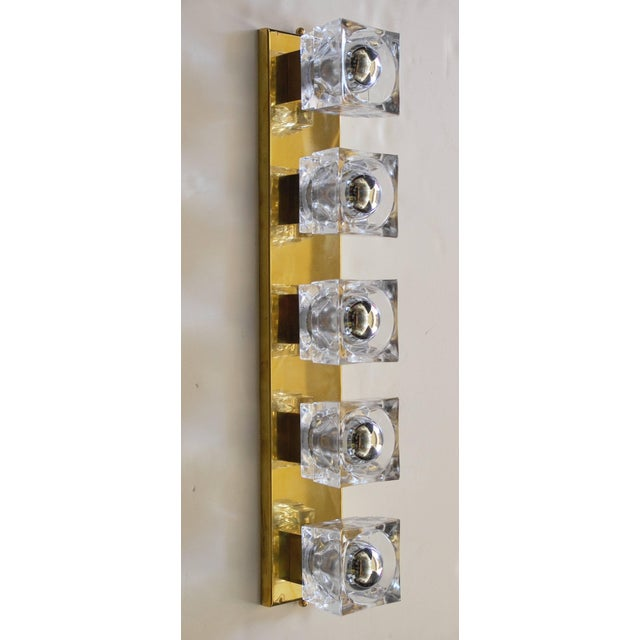 Mid-Century Modern Murano Glass Cube Brass Sconces / Flush Mounts by Fabio Ltd For Sale - Image 3 of 11