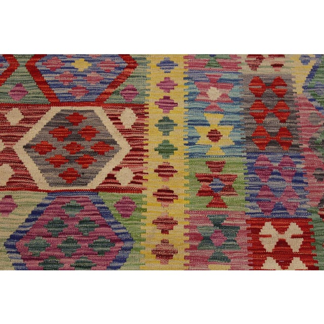 Bohemian Tressa Pink/Blue Hand-Woven Kilim Wool Rug - 6'10 X 9'9 For Sale - Image 4 of 8