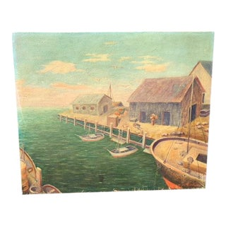 Maritime Seaside Oil Painting on Canvas