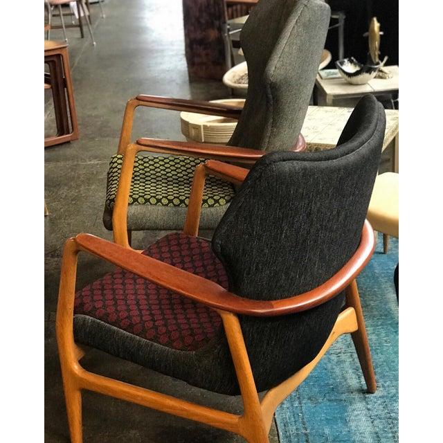 Danish Modern Aksel Bender Madsen oak and teak upholstered Low Back Chair for Bovenkamp C. 1960s.
