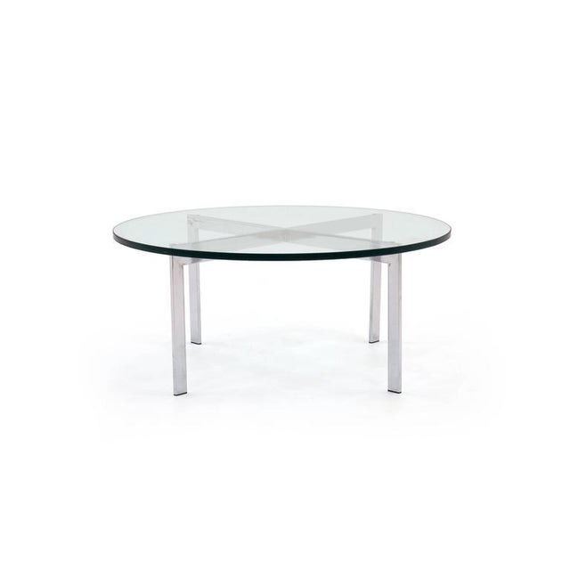 """Classic Milo Baughman chrome and glass 36"""" cocktail table. 1/2 inch thick glass with mitered edge. Excellent condition."""