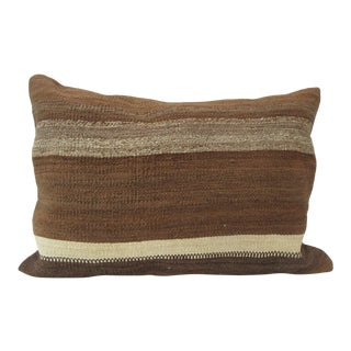 Vintage Turkish Kilim Brown Pillow Cover For Sale
