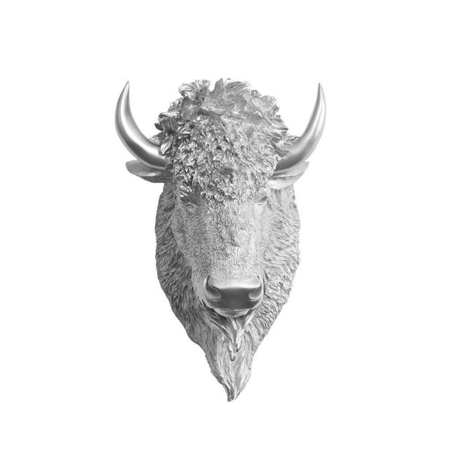 Boho Chic Wall Charmers Faux Bison Bust in Silver For Sale - Image 3 of 3