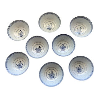 Vintage Chinese Rice Grain Bowls - Set of 8 For Sale