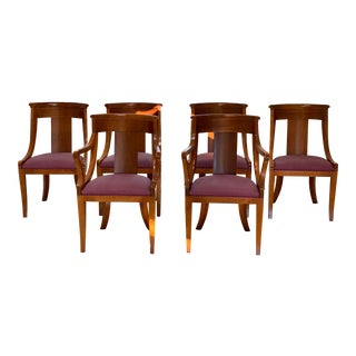 1990s Vintage Baker Neoclassical Palladian Dining Chairs - Set of 6 For Sale