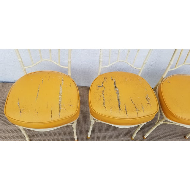 Orange 1960s Vintage Brown Jordan Style Faux Bamboo Aluminum Outdoor Dining- Set of 5 For Sale - Image 8 of 13
