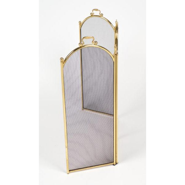 Vintage French Neoclassical Brass Fire Screen For Sale - Image 4 of 10