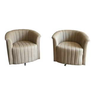 1960s Hollywood Regency Channel Back Barrel Swivel Chairs - a Pair