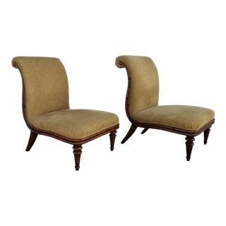 Regency Style Raymond Waites for Lane Faux Bamboo Slipper Chairs - a Pair For Sale