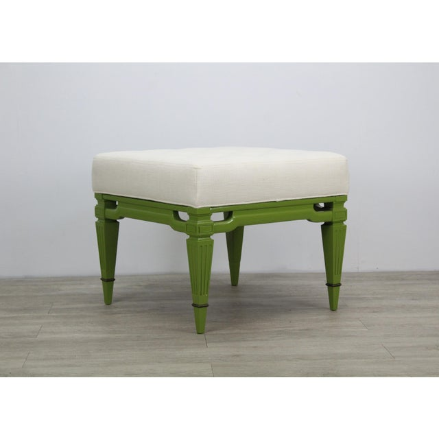 Mid-Century Cream Linen Benches, a Pair For Sale - Image 10 of 13