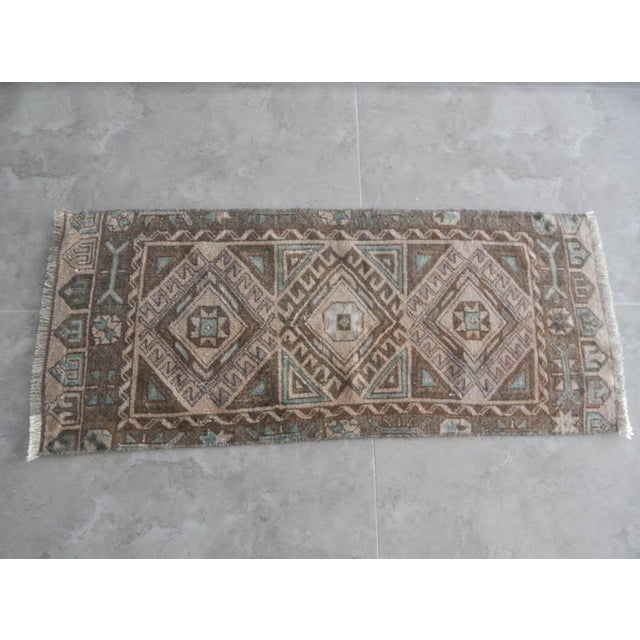 Islamic Low Pile Distressed Small Rug Hand Knotted Oushak Rug For Sale - Image 3 of 8