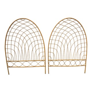 1970s Asian Antique Rattan/ Bamboo Twin Headboards - a Pair